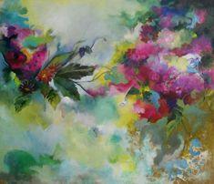 50×70cm Acrylic abstract florals on canvas original painting by Nurten Koçboğan