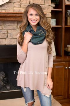 Taupe Side Button Tunic CLEARANCE - The Pink Lily Boutique