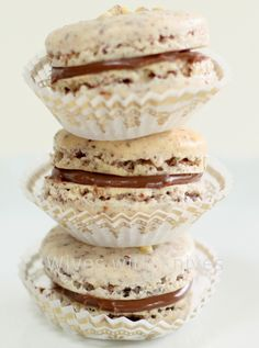 Good recipe for macarons.  I also added a pinch of cream of tartar to the eggs as they were whipping. I filled them with homemade nutella instead of the ganache.