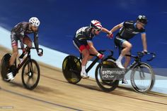 British cyclist Mark Cavendish and madison partner Marc Hester of Telegraph Allstars relay in the Elite Championship Madison Chase during the Elite Track Cycling Revolution Series at National Cycling Centre on January 2, 2016 in Manchester, England.