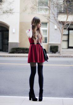 red dress. long socks.