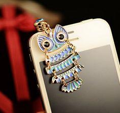 1PC Bling owls phone dust plug,iPhone dust plug,earphone plugs, cell phone charm,ear plugs,Ear Jack,iPhone charm