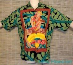 KOKO ISLAND Mens HAWAIIAN WAHINI PICTORIAL Shirt - Medium #KokoIsland #Hawaiian