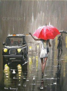 Original acrylic and oil on stretched canvas by international selling British… Rain Painting, Painting & Drawing, Arte Black, London Painting, I Love Rain, Rain Art, Umbrella Art, Toyama, Rain Photography