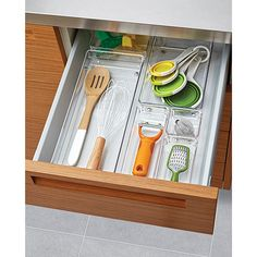 A junk drawer no more with these fabulous acrylic trays. Create a space and a place for your tape, scissors, stamps and all of those things you need right now. My clients use and love the InterDesign Linus Drawer Organizers. Office Drawer Organization, Organization Hacks, Organization Ideas, Kitchen Utensils, Kitchen Storage, Kitchen Tools, Kitchen Ideas New House, House Ideas, Open Concept Kitchen