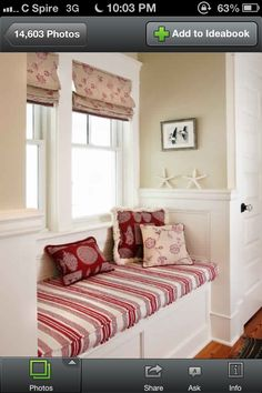 Window Treatment...love the red and cream. Would look gorgeous with my paneling.