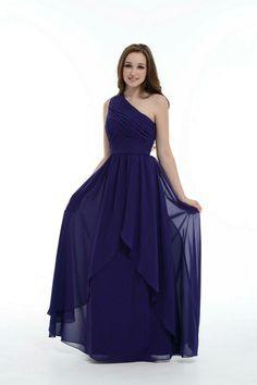 Royal Blue Bridesmaid Dress, One Shoulder Floor-Length Chiffon Bridesmaid Dress With Ruffle