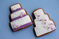 purple and white wedding cake cookies