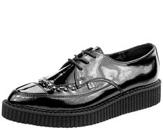 A8832 - BLACK CLASSIC POINTED PATENT CREEPERS   #TUKSHOES