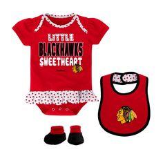 Chicago Blackhawks Newborn Even Strength 3-Piece Creeper Set