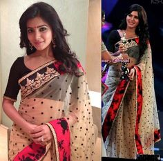 In a Sabyasachi sari, Samantha attended the recent award night held in Chennai. Big earrings, good ol' ice on the ever important finger and a bindi is all that took to finish out the look.