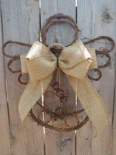 Country Angel Burlap Wall Hanging- Rustic Bells Willow Branch Wreath Door Hanger. $25.00, via Etsy.