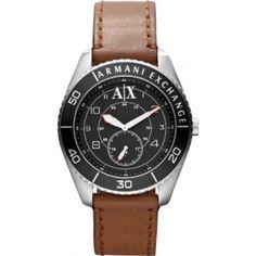 Relógio Armani Exchange GMT Black Dial Stainless Steel Mens Watch AX1261