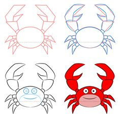 How to draw a simple cartoon crab filled with beautiful effects! Fish Drawings, Pencil Drawings, Art Drawings, Crab Painting, Rock Painting, Painted Jeans, Painted Rocks, Drawing For Kids, Painting For Kids