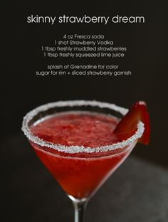 Signature drink recipe ~ skinny strawberry dream, refreshing and under 80 calories!