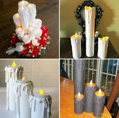 Como fazer Velas de Natal com Rolo de Papel – 10 Ideias Lindas e Fáceis! Christmas Crafts, Christmas Decorations, Table Decorations, Candle Craft, 242, Christmas Activities, Bottle Crafts, Pillar Candles, Animals And Pets