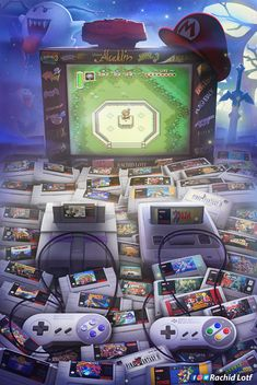 """Wakka Wakka Wakka"": Amazing Nostalgic Video Game Artworks By Rachid Lotf Super Nintendo, Nintendo Games, Arcade Games, Nintendo Ds, Nintendo Consoles, Nintendo Switch, Star Fox, Retro Video Games, Video Game Art"