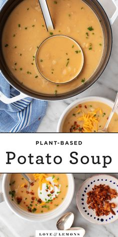 The BEST potato soup recipe! This super creamy, comforting soup is filled with tangy, smoky flavor. Plus, this healthy potato soup recipe is easy to make with pantry ingredients! Healthy Potato Soup, Best Potato Soup, Potato Bacon Soup, Creamy Potato Soup, Healthy Potatoes, Fall Recipes, Soup Recipes, Vegetarian Recipes, Dinner Recipes
