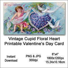 Vintage Cupid Valentines Card Victorian Printable Flower Heart Cherub Sash Clipart Card Instant Down Vintage Images, Vintage Designs, Printable Flower, Victorian Valentines, Valentines Design, Last Minute Gifts, Cherub, Cupid, Art Images