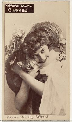 "Issued by Allen & Ginter (American). Card ""See my Kittie!"", from the Actors and Actresses series Type for Virginia Brights Cigarettes, ca. The Metropolitan Museum of Art, New York. The Jefferson R. Burdick Collection, Gift of Jefferson R. Vintage Photographs, Vintage Photos, Creepy Faces, Antique Illustration, All About Cats, Cat People, Vintage Cat, Cat Art, Vintage Posters"