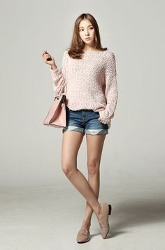 Sweater top, shorts, oxford/loafer/sneaker