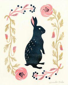masakokubo:  Something I am selling in a pop-up shop at the moment! Gold, pink, and dark blue print.新宿ルミネの期間限定ショップ「リス・ウサギんぴっく」に出しているウサギです。
