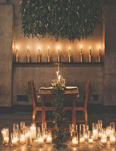 Romantic candlelit sweetheart table