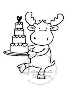 Hanna Stamps Moose Cake Sophie