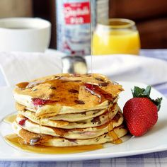 Strawberry Chocolate Chip Buttermilk Pancakes