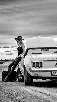 Black and White My favorite photo, wild, free woman, car, cowboy road style…