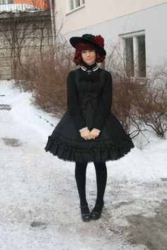Amazing Classic Lolita outfit.  imperialfiddlesticks:    Going to a funeral today… and tomorrow's my birthday. Oh wonderful February……..  Anyway, today's outfit - here it is.
