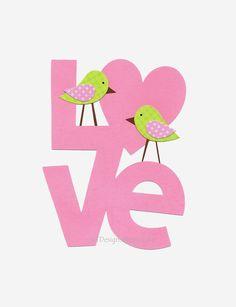 Nursery Art, Baby Girl Room Art, Kids Wall Art, Kids Room Decor, Birds, Pink, Green, Love Birds, 8x10 Print