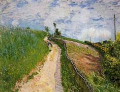 The Hill Path, Ville d Avray Artist: Alfred Sisley Completion Date: 1879 Style: Impressionism Genre: landscape Technique: oil Material: canvas Dimensions: 50 x 65 cm Gallery: Private Collection Tags: roads-and-vehicles Impressionist Landscape, Impressionist Artists, Landscape Paintings, French Paintings, Great Paintings, Pierre Auguste Renoir, Claude Monet, Sisley Alfred, Charles Gleyre