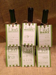 Set of 6 - Bridal Shower Wine Basket Gift Tags - Striped Tags on Etsy, $12.00