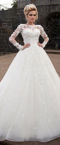 Marvelous Tulle & Organza Bateau Neckline Ball Gown Wedding Dress With Lace Appliques & 3D Flowers #laceweddingdresses