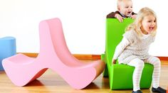 Flip Chair for Kids by Marco Hemmerling pink and green