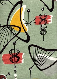 50's Atomic textile design (I have some pale pink fabric just like this)