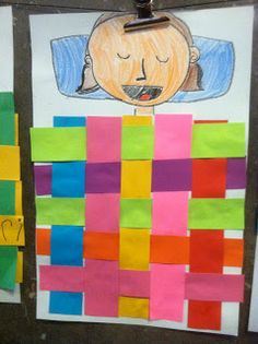 Paper weaving quilt self portrait sleeping elementary art lesson