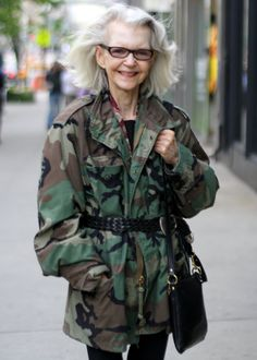 um... long flowy hair and camo? old hippy chick or what?
