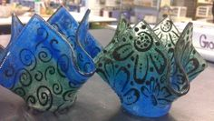 Rainbow Frit Votive Class - made with frit, glassline (black paint), and stencil