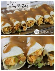 Easy turkey stuffing roll ups!  I add in some frozen veggies for a whole meal in one pan!
