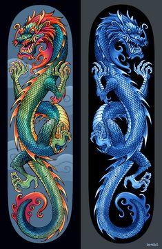 Dragon Boards by D-MAC on DeviantArt - Eastern Dragons – skateboard design by D-MAC - Blue Dragon Tattoo, Dragon Tattoo For Women, Japanese Dragon Tattoos, Dragon Tattoo Designs, Skateboard Deck Art, Skateboard Design, Skateboard Wheels, Tribal Tattoos, Celtic Tattoos