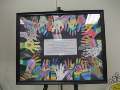 Each child's hand brightly colored and inspirational saying in the middle. Great school auction item.