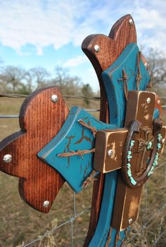 Turquoise,Brown, Barbwire and Horseshoe Wall Cross. $65.00, via Etsy.
