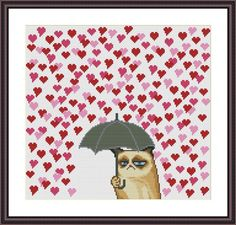 Grumpy Cat and Heart Funny Cross Stitch Pattern | Craftsy
