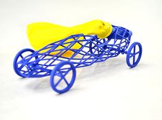 Super Lightweight 3D Printed Balloon Powered Toy Car (VIDEO)