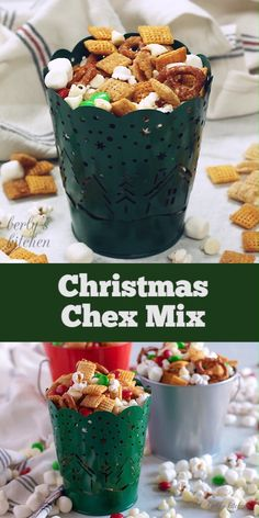 Christmas Chex Mix is chock full of goodies like crunchy Corn and Rice Chex cereal, salty pretzel twists, sweet mini marshmallows, white chocolate chips, and milk chocolate candies. It's the perfect sweet and salty holiday snack! Christmas Snack Mix, Holiday Snacks, Christmas Cooking, Christmas Treats, Holiday Recipes, Christmas Desserts, Christmas Recipes, Mini Marshmallows, Sweet And Salty Snack Mix Recipe