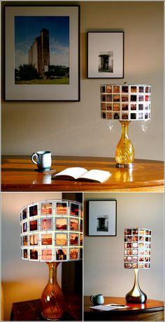 Photo lampshade DIY - amazing use of old negatives!!!