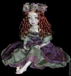 """Купить Кукла """"Фиона"""" - брусничный, ягоды из полимерной глины, ежевика, цветы, коллекционная кукла"""