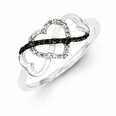 Sterling Silver Black And White Diamond Triple Heart Ring